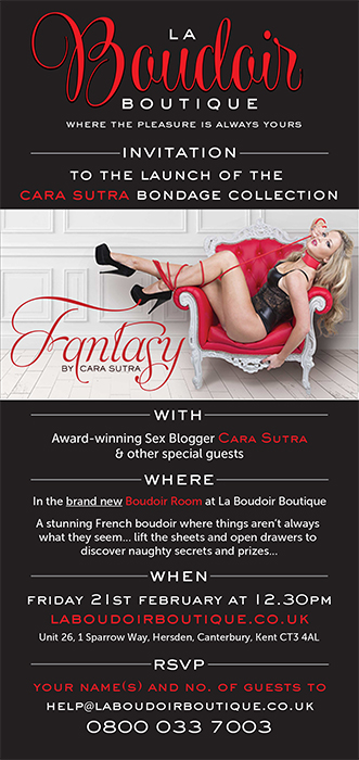 La Boudoir Boutique launch party Fantasy by Cara Sutra bondage sex toys