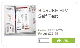 HIV testing kit at Freedoms Shop