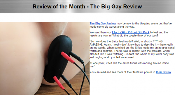 big gay review on electrastim newsletter