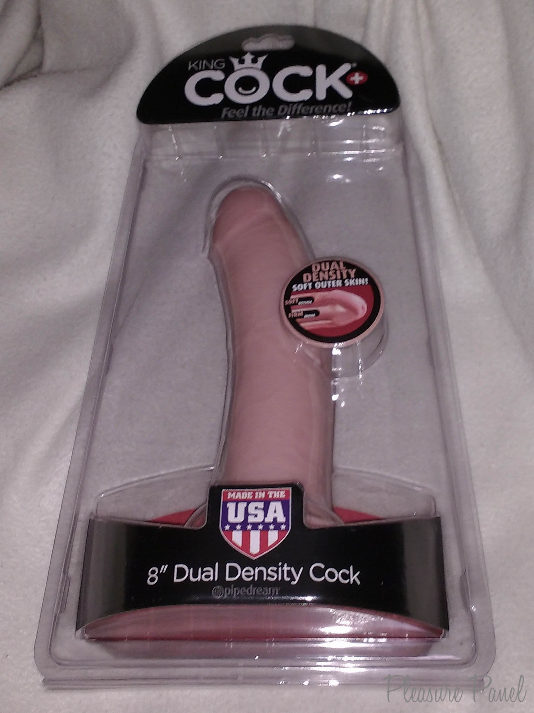 ... Inch Dual Density Dildo is packaged in a clear formed plastic shell,  with the dildo itself encapsulated and standing proud to attention and on  display!