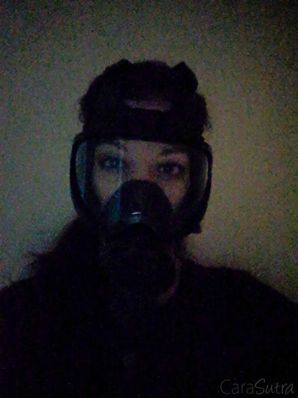 Gas mask self bondage